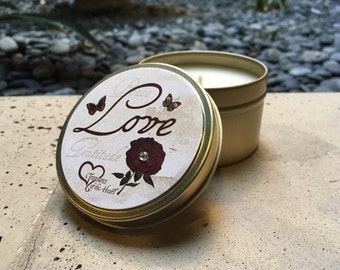 VINTAGE ROSE LOVE Soy Candle 6 Oz. in the Grapefruit Citrus Scent