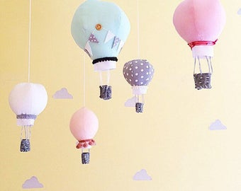 Hot air balloon decor- hot air balloon nursery- hot air balloon mobile- kids room decor- pastel hot air balloons (5 balloons) HOOKS incuded!