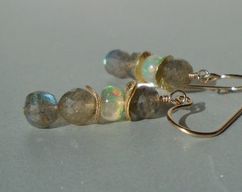 Labradorite Earrings, Opal Earrings, Ethiopian Opal Earrings, Gemstone Earrings, Short Earrings