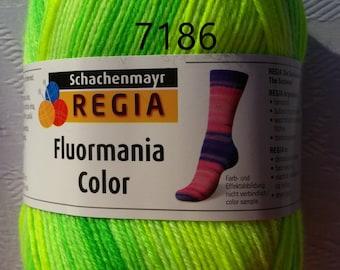 Regia Sock Yarn Fluormania Color   3.5 oz / 4 ply