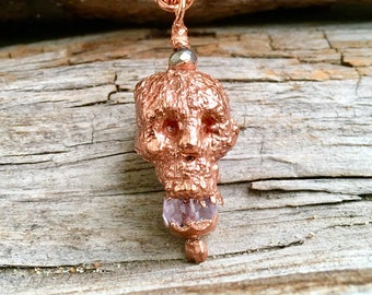 Pirate skull pendant / jewelry Skull & crystal / treasures from the sea / polished copper / skull pentent/ Goth jewelry  / rockabilly