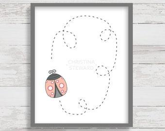 Ladybug Decorations, Ladybug Print, 8x10 Printable, Orange and Pink Wall Art, Printable Art, Nursery Art, Digital Print, Childrens Art