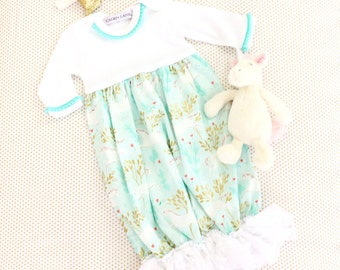 Charming Unicorn Aqua and Gold Vintage Ruffled Baby Girl Newborn Layette Gown | Baby Girl Going Home Outfit | Lace Ruffled Baby Gown