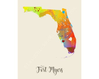 Fort Myers Florida Fort Myers Map Fort Myers Print Fort Myers Poster Fort Myers Art Fort Myers Gift Fort Myers Wall Decor