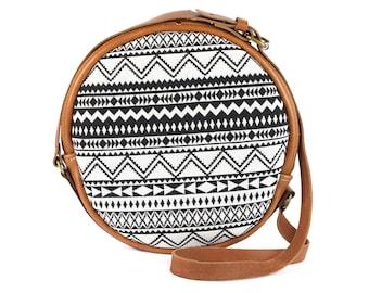 Bohemian Fabric + Leather Circle Bag