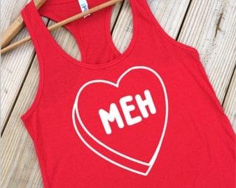 Valentines Day Shirt, Womens Tanks, Running Tank, Shirt for Singles, Funny Tank Tops, Red Shirts, Group Shirts, Anti, S-XXL ID22M