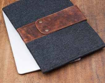 Dark Felt Asus Zenbook 3 Case with leather flap. Asus zenbook 3 deluxe sleeve, vivobook,rog, chromebook series, asus chomebook case cover
