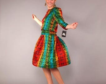 Vintage NOS 80s Abstract Rainbow Stripes Plaid Puff Sleeve Drop Waist Dress S M