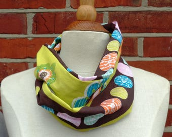 Brown Spot & Flowers Fabric Infinity Scarf, Infinity Scarf, Ladies Scarves, Loop Scarf, Womens Scarves, Circle Scarf, Tube Scarf, Gift Idea