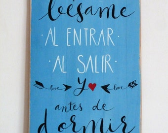 """Wooden pallet """"Recalls BESAME before entering and EXITING"""" sign. Personalized gift. Original gift"""