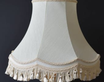 Vintage Cream Lampshade Large Frame Has Tassels & Braiding Nice Condition