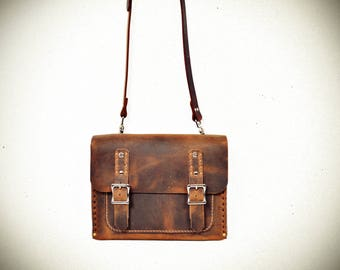 Vintage messenger leather bag, crossbody bag, leather satchel bag, Handmade in the USA