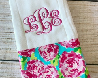 Monogrammed Burp Cloth - Baby Shower Gift - Personalized Burp Rag - Floral Burp Cloth - Burp Cloth - Baby Gift - New Baby Gift - Newborn Gif