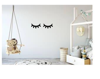 Eyelash / eyes / closed / eye / wall art / vinyl / stickers / decal / nursery / bedroom / black / monochrome / girls / boys