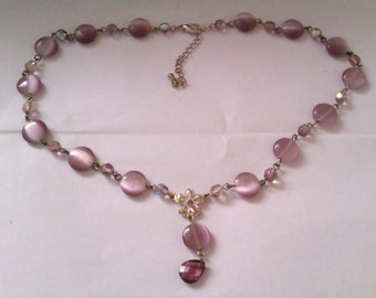 vintage purple glass bead necklace