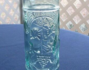 Green Glass Bottle - Grapevine Design