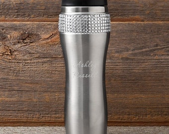 Personalized Bling Travel Tumbler, Personalized Travel Cup, Travel Coffee Mug, Gifts for Her, Holiday Gifts