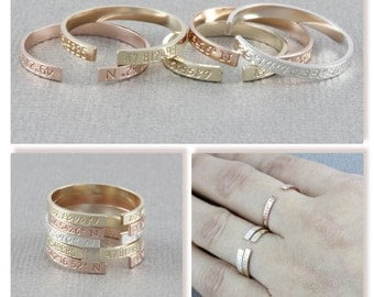 Personalized skinny coordinates ring, location ring, letter ring. gift for her, custome stamp letter ring in gold filled, and silver