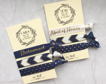 will you help me tie the knot hair ties // navy blue // custom