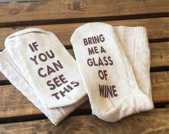If you can see this socks, Women's Socks, Wine Clothing
