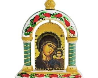 "5"" Maria and Jesus Russian Icon Wooden Tabletop Shrine- SKU # 76001A"
