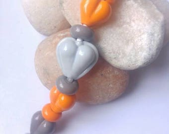 Tiny Hearts & Spacers Glass Lampwork Bead Set Grey and Orange SRA