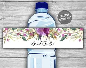 Floral - Purple and Gold - Bridal Shower - Water Bottle Labels - PRINTABLE - INSTANT DOWNLOAD - Purple Floral - Labels - 032