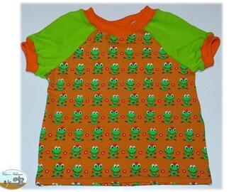 Children Baby T-Shirt shirt Jersey cotton size 62-68 animals frogs flowers points heart orange Green