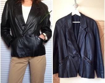 Leather and snake vintage 80s black blazer jacket (38/40 - M)