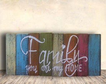 Rustic Family Sign - Boho Family Sign - Love Family Sign - Family Photo Wall Prop - Family You Are My Home Sign - Housewarming Gift Idea