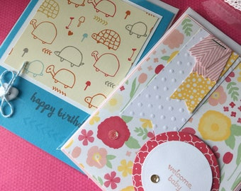 2 cards set: Welcome Baby and Happy Birthday handmade cards flowers turtles