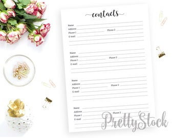 Contacts Printable, Contacts Printable Planner Inserts, Contact Sheet, Address Book Printable, A4, A5, Letter, Half letter, Binder Printable