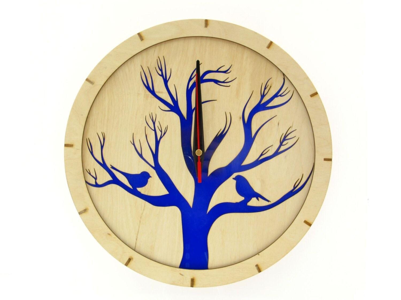 Wood Clock BIRDS BLUE Handmade Clock Wooden Wall Clock