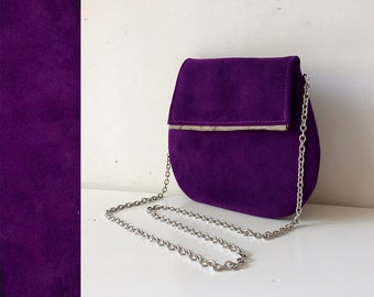 ultra violet bag, italian leather bag, evening clutch purse, suede violet clutch bag, handmade purses with steel shoulder, made in italy