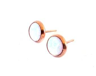 White Opal Earrings, Studs, 14k goldfilled earring ,White  earrings, Hand Made Earrings,Rose Gold filled earrings,Delicate stud earrings