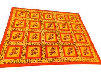 Cotton with Silk Embroidery Elephant Design Double Bed Cover Size 260x240 CM