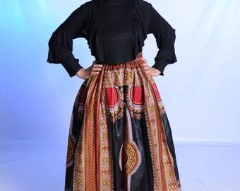 Dashiki / Skirt / African / Print / High / Waist / Long / Maxi / Black / Pockets / Red / Yexi / Cotton / Zipper