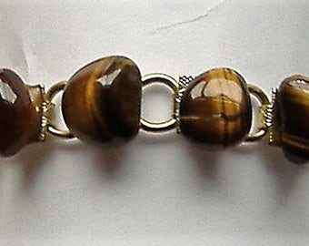 1950S POLISHED tigers eye  STONE BRACELET