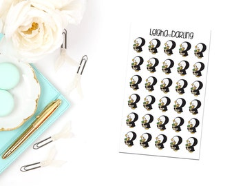 Grocery Bag Penguin Planner Stickers