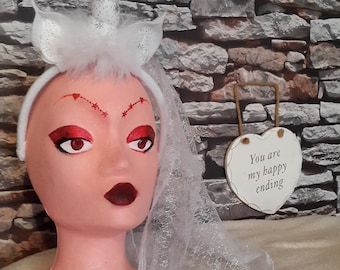 Bachelorette Veil or Hen Night Unicorn Horn Headband with Veil. Suitable for parties, Christmas, hen nights, festival wear, cosplay.