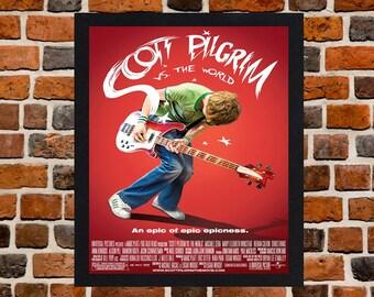 Framed Scott Pilgrim vs The World Movie / Film Poster A3 Size Mounted In Black Or White Frame