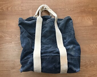 Vintage Blue Canvas Tote Bag // Port Canvas Company Maine // Made in USA // Blue Denim Chambray Bag