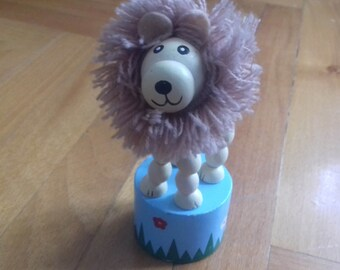 Thumb Puppet Vintage Wooden Lion Toy