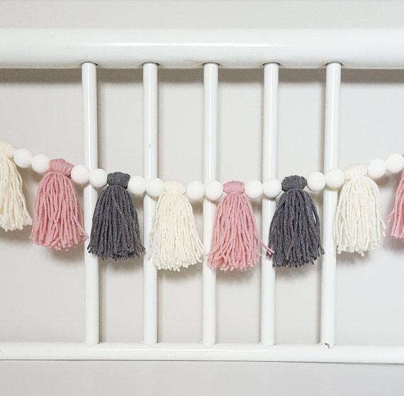 Custom Yarn Tassel Wood Bead Garland 5 7ft Long Kids Room