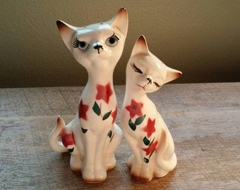 Vintage Cat Couple Salt and Pepper Shakers