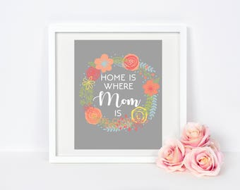 Printable Mother's Day Print | Home Is Where Mom Is | Print For Mom | Mother Day Quote | Printable Wreath Decor | Instant Download