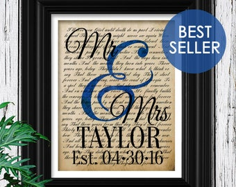 Custom First Dance Lyrics | Wedding Keepsake for Couple | One of a kind Gift For Husband Anniversary Gift | Name Sign First Dance lyric Art