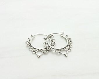 Art Deco Bali Hoops, Sterling silver Bali hoops, Art Deco Balinese silver hoop earrings, Ethnic hoops, Tribal hoops (H90)
