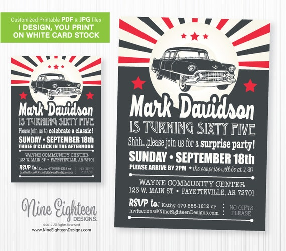 Surprise Birthday Party INVITATION With Retro Classic Car