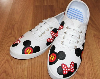 Mickey mouse Minnie heads bow Disney Park Custom hand painted  white canvas lace up shoes  sneakers